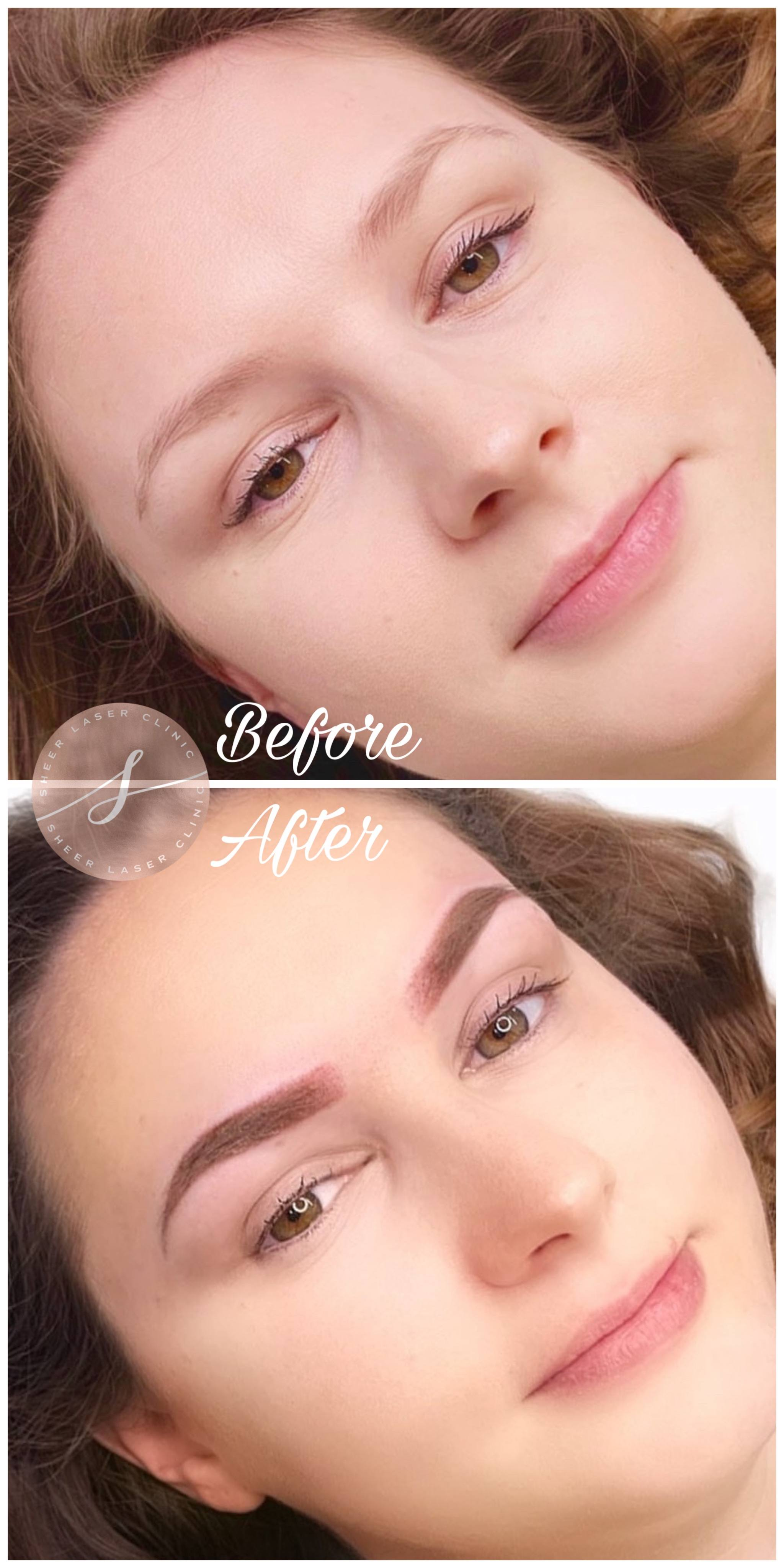 Before and after ombre brow